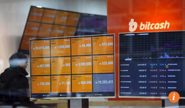 Chợ tiền ảo Hàn Quốc đóng cửa hôm 19/12 sau các vụ tấn công mạng (Ảnh: AFP)