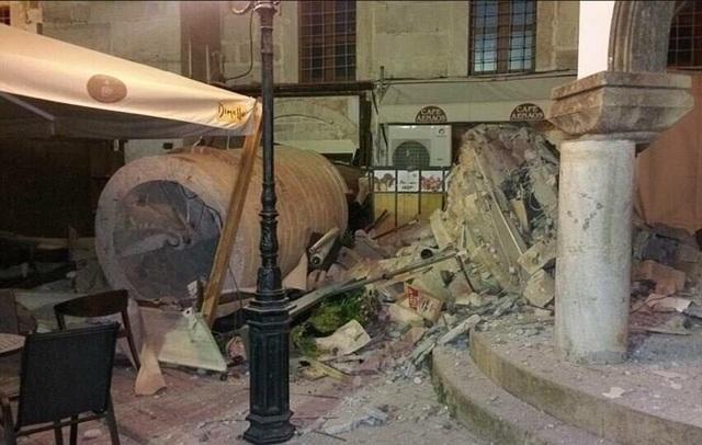 Cảnh đổ nát sau động đất. (Ảnh: Dailymail)