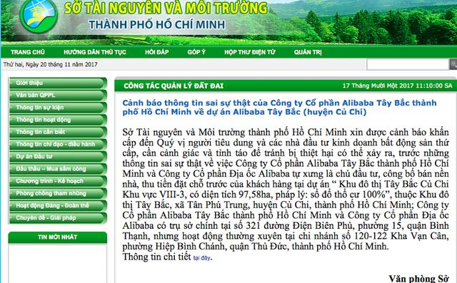 Sở Tài nguyên và Môi trường TPHCM lên tiếng cảnh báo khẩn cấp về hoạt động môi giới của 2 công ty Alibaba