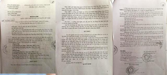 Bản án của TAND huyện Tân Châu.