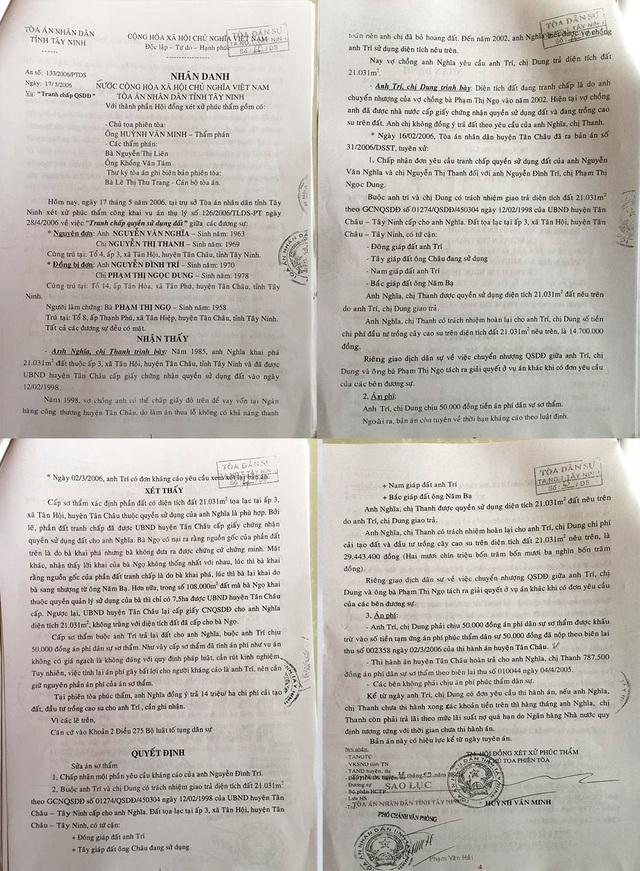 Bản án 133/2006/PTDS ngày 17/5/2006 về vụ Tranh chấp quyền sử dụng đất giữa vợ chồng ông Nguyễn Văn Nghĩa và vợ chồng ông Nguyễn Đình Trí (cùng ngụ huyện Tân Châu, tỉnh Tây Ninh).