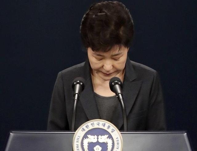 Tổng thống Park Geun-Hye xin lỗi toàn dân trên truyền hình năm ngoái. (Ảnh: Yonhap)
