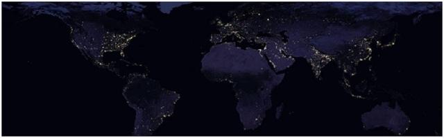 Hình ảnh Trái đất về ban đêm theo tọa độ phẳng