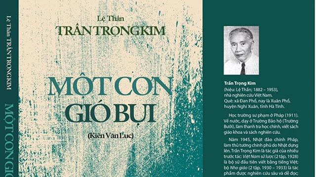 Bìa cuốn sách Một cơn gió bụi của tác giả Trần Trọng Kim. Ảnh: KMS.