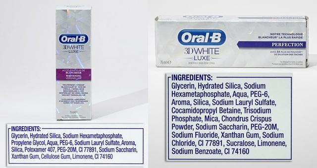 Sản phẩm làm trắng răng Oral B có Sodium lauryl sulfate