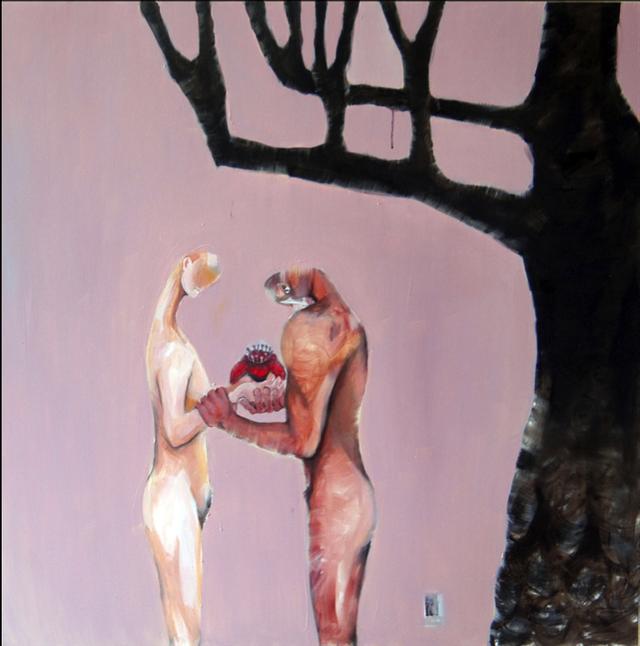 Tranh nude của tác giả Nguyễn Thanh Hoa. Ảnh: LTC.