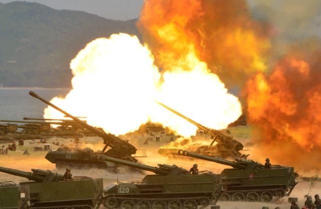 Quân đội Triều Tiên tập trận (Ảnh: KCNA)