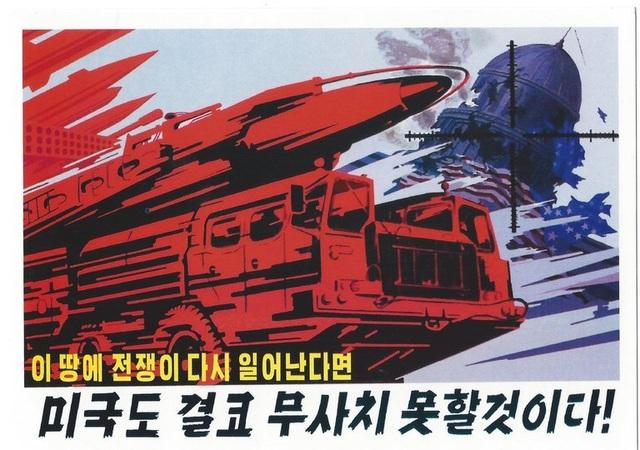 Tranh cổ động của Triều Tiên với khẩu hiệu: Nếu chiến tranh xảy ra trên đất nước chúng ta một lần nữa, nước Mỹ sẽ không còn an toàn (Ảnh: New York Times)