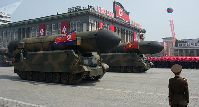 Một cuộc duyệt binh ở Triều Tiên (Ảnh: Sputnik)