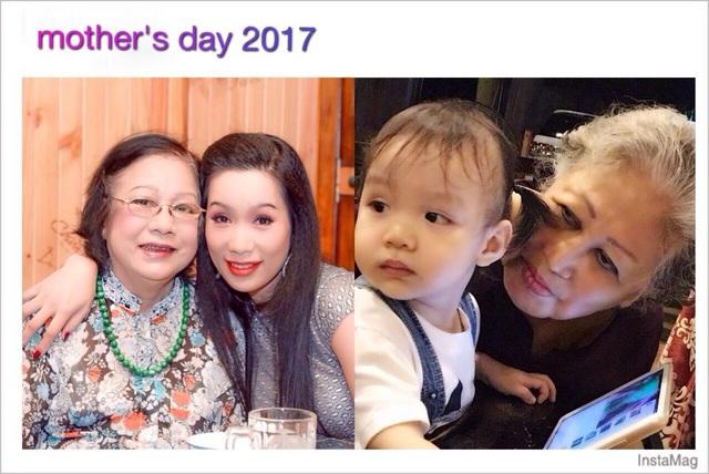"""Trịnh Kim Chi chia sẻ ảnh mẹ và con gái trong Ngày của mẹ """"Chúc hai tình yêu của con thật nhiều sức khoẻ. Hạnh phúc. Sống vui khỏe cùng với con cháu...""""."""