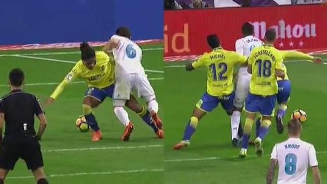 Hai tình huống không được hưởng phạt đền của Real Madrid trong trận đấu với Las Palmas
