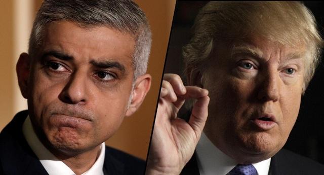 Tổng thống Mỹ Donald Trump (phải) và Thị trưởng London Sadiq Khan (Ảnh: AFP)