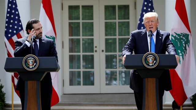Tổng thống Trump và Thủ tướng Saad al-Hariri họp báo tại Nhà Trắng ngày 25/7 (Ảnh: Reuters)