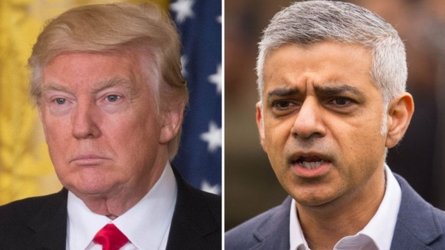Thị trưởng London Sadiq Khan (phải) và Tổng thống Mỹ Donald Trump (Ảnh: BBC)