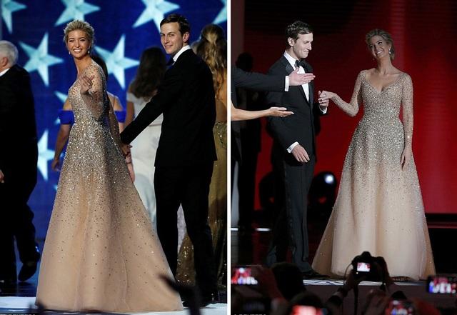 Đệ nhất ái nữ Ivanka Trump diện một bộ váy gợi cảm đính đá lấp lánh của nhà thiết kế Carolina Herrera. (Ảnh: Reuters)