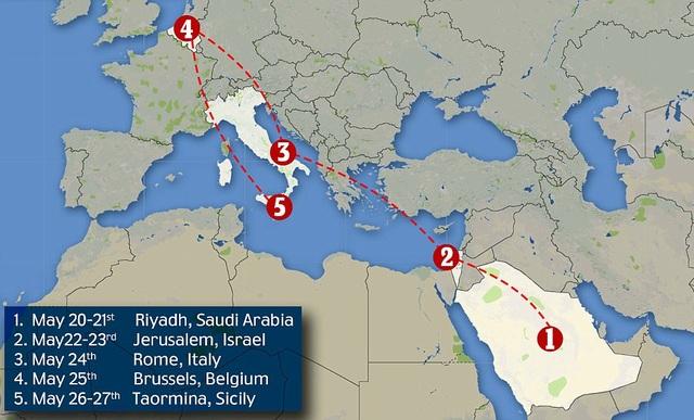 Điểm dừng thứ hai là Israel. Ông Trump sẽ thăm chính thức Israel từ ngày 22-23/5. Tiếp đến là Rome (Italy), Brussels (Bỉ) và Taormina (Sicily). (Ảnh: Dailymail)