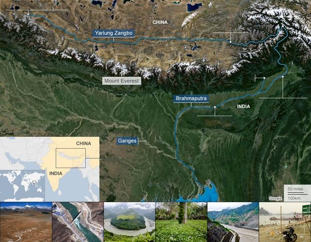Bản đồ dòng chảy của sông Brahmaputra (Trung Quốc gọi là sông Yarlung Zangbo) chảy từ Trung Quốc xuống Ấn Độ và Bangladesh (Ảnh: BBC)
