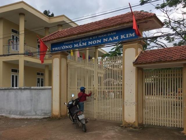 Trường Mầm non Nam Kim (huyện Nam Đàn, Nghệ An) - nơi xảy ra vụ việc.