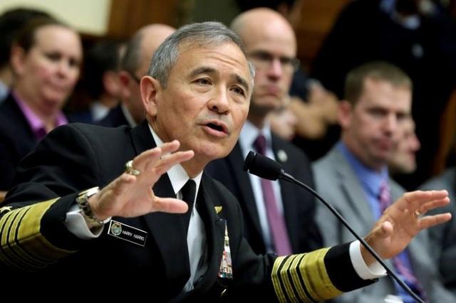 Tư lệnh Bộ Chỉ huy Thái Bình Dương Mỹ Đô đốc Harry Harris (Ảnh: Reuters)