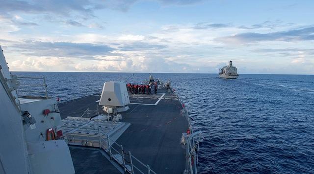 Tàu Mỹ tuần tra tự do hàng hải trên Biển Đông. (Ảnh: RT)
