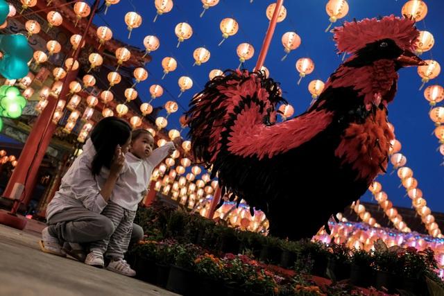 Người dân chụp ảnh cùng tượng gà khổng lồ ở ngoại ô thủ đô Bangkok, Thái Lan (Ảnh: Reuters)