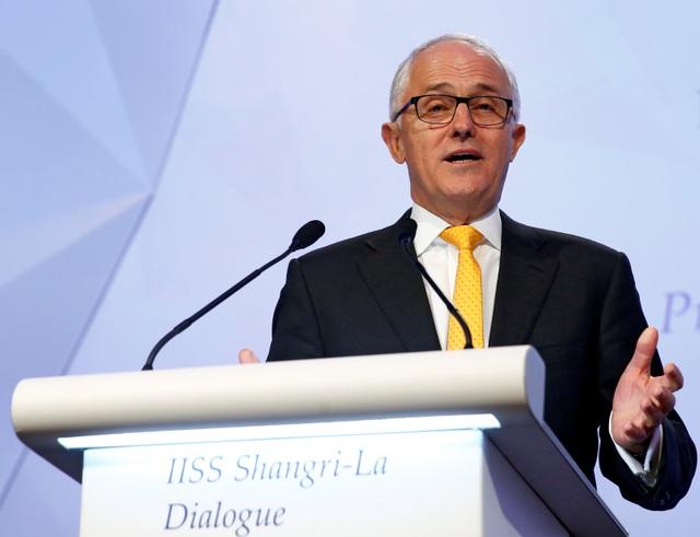 Thủ tướng Malcolm Turnbull phát biểu tại Diễn đàn Shangri-La ở Singapore hôm 2/6 (Ảnh: Reuters)