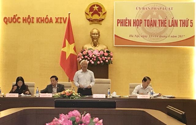 Phó Chủ tịch Quốc hội Uông Chu Lưu phát biểu tại phiên họp của UB Pháp luật