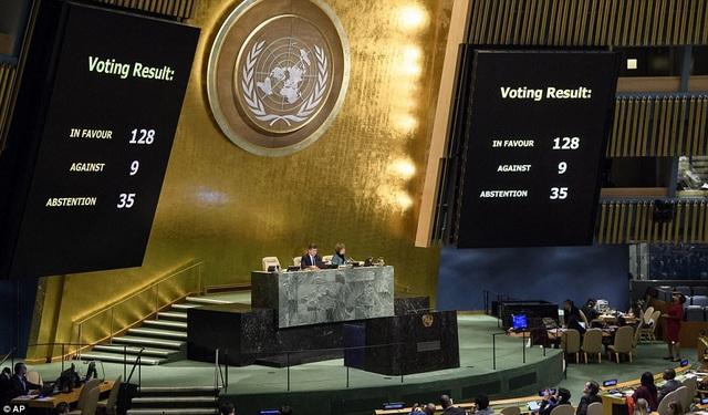 128 thành viên Liên Hợp Quốc phản đối Mỹ công nhận Jerusalem là thủ đô của Israel (Ảnh: AP)