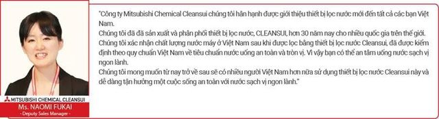 Ms. Naomi Fukai – đại diện kinh doanh của hãng Mitsubishi Chemical Cleansui