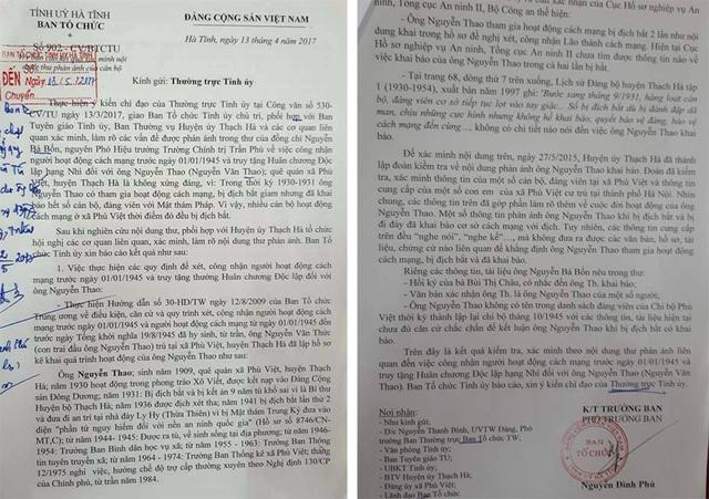 Văn bản báo cáo kết quả xác minh nội dung phản ánh của đảng viên xã Phù Việt trong việc truy phong nhầm ông Nguyễn Thao từ huyện ủy viên thành Bí thư huyện bộ.