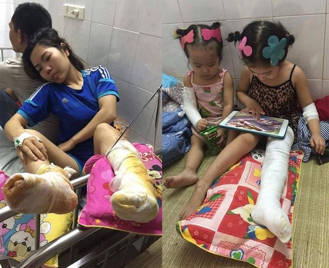 3 cô cháu bị bỏng sau khi té vào đống than bên đường.