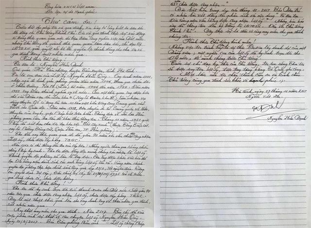 Ông Định viết thư cảm ơn Thủ tướng Chính phủ.