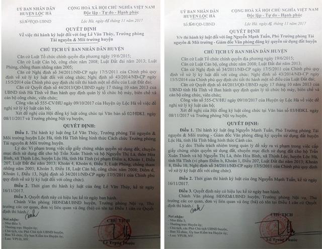 Quyết định kỷ luật cách chức, cảnh cáo Trưởng, Phó phòng TN-MT huyện được Chủ tịch huyện Lộc Hà ban hành sáng ngày 16/11.