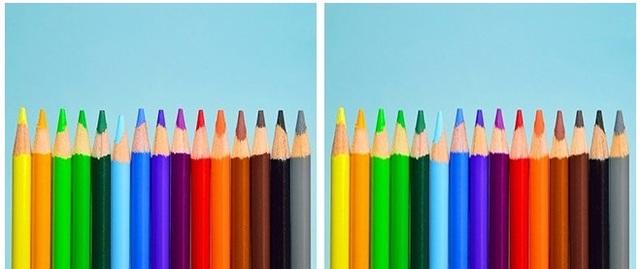 Cây bút chì thứ 6 (màu xanh da trời) ở hình bên trái ngắn hơn so với hình bên phải.