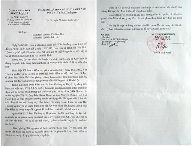 Công văn phúc đáp của UBND huyện Lộc Hà gửi báo chí.
