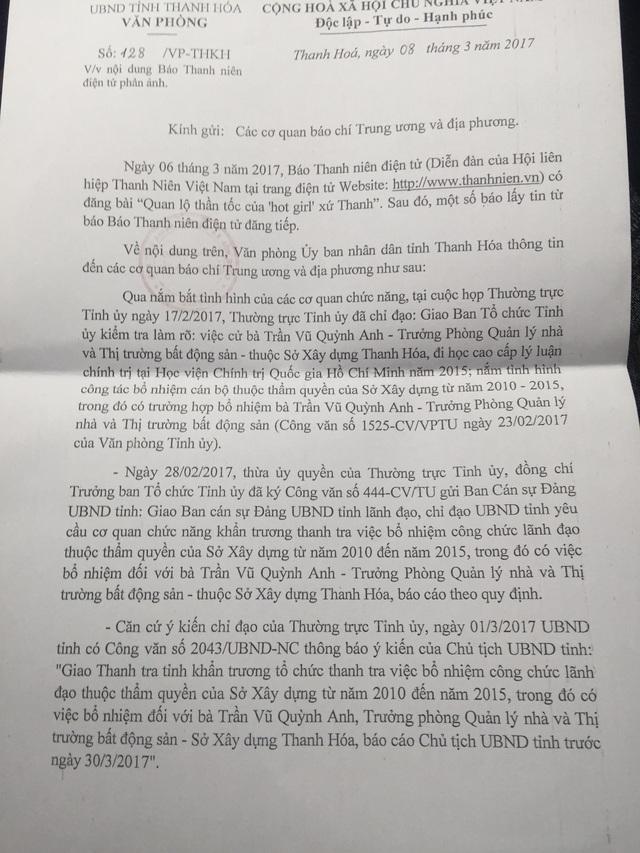 Văn bản của UBND tỉnh Thanh Hóa chỉ đạo vụ bà Trần Vũ Quỳnh Anh