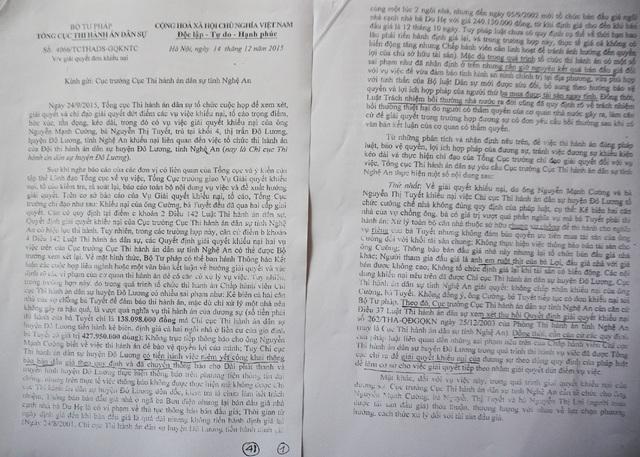 Công văn trả lời khiếu nại tố cáo của Tổng cục thi hành án dân sự thể hiện, Chấp hành viên Chi cục THADS huyện Đô Lương có nhiều sai phạm trong quá trình tổ chức thi hành án nhưng có ý kiến giữ nguyên kết quả đấu giá để đảm bảo quyền và lợi ích hợp pháp của người mua tài sản.