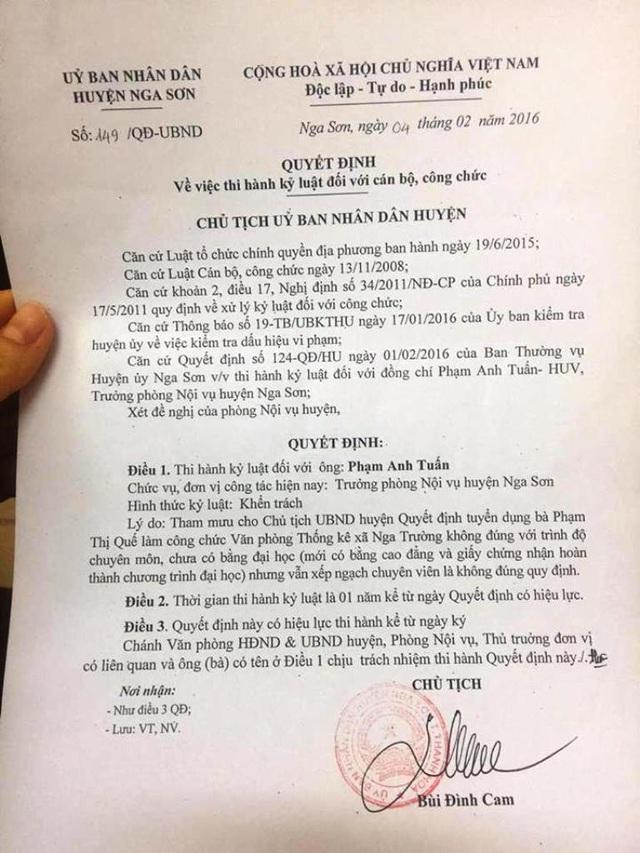 Quyết định kỷ luật ông Phạm Anh Tuấn