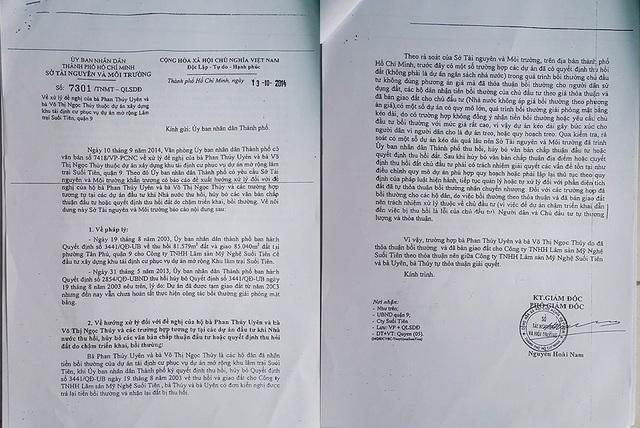 Báo cáo của Ban BTGPMT Q.9 xác định rất rõ, trường hợp của mẹ con bà Uyên không thuộc trường hợp thoả thuận với chủ đầu tư như công văn số 7301/TNMT-QLSDĐ của Sở TN&MT đã nêu.