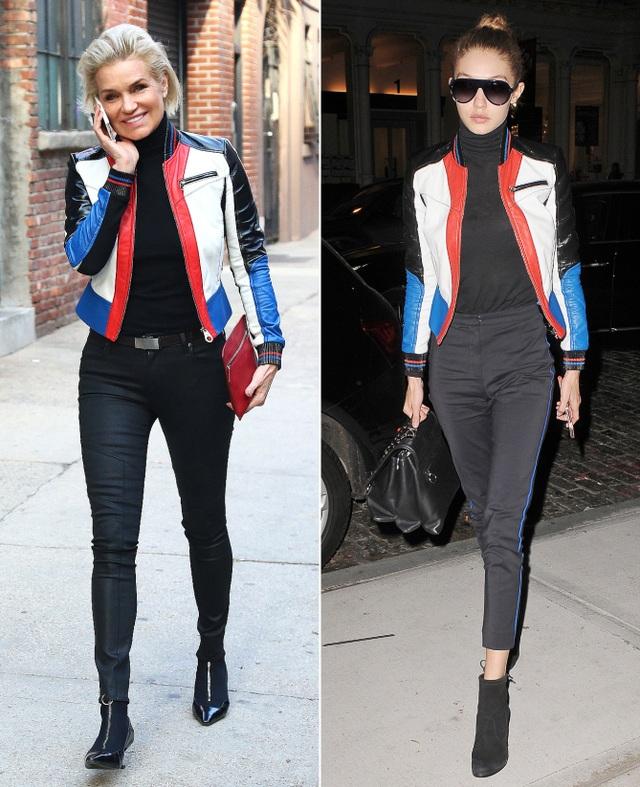 Mẹ con siêu mẫu Gigi Hadid dường như mặc chung chiếc áo khoác Versace này!