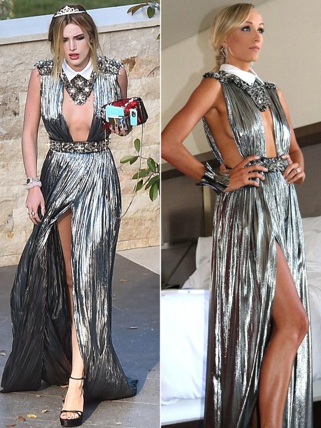 Bella Thorne và Nátia Liukin khoe chân thon với váy bạc xẻ cao
