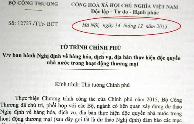 Văn bản trình Chính phủ của Bộ Công Thương vẫn dùng văn bản có chữ ký của ông Vũ Huy Hoàng gây tranh cãi