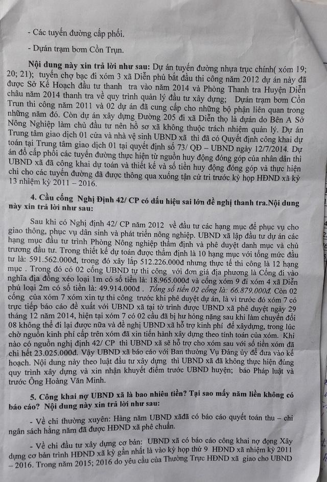 Một nội dung liên quan đến xây dựng cầu cống theo Nghị định 42/CP, thì UBND xã Diễn Phú đã thừa nhận có sai sót và xin nhận khuyết điểm trước UBND huyện.