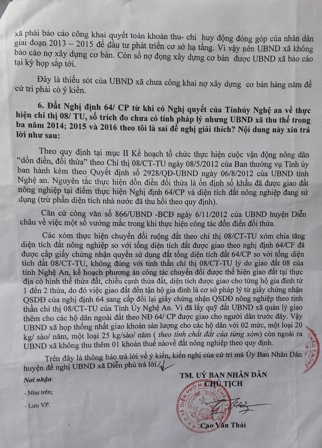 Báo cáo của UBND xã Diễn Phú về việc người dân tố cáo cũng như cơ quan báo chí đã có bài phản ánh. Tại báo cáo này, UBND xã Diễn Phú đã nhận một số khuyết điểm ...