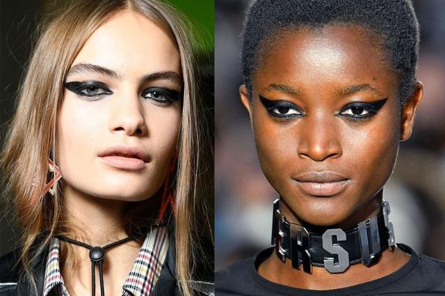 Tông màu đen mạnh mẽ dành cho mắt sẽ hợp với son môi màu da.