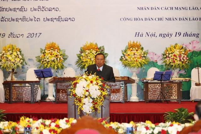 Tổng Bí thư, Chủ tịch nước Lào Bounnhang Vorachith đọc Diễn văn đáp từ. Ảnh: Văn Điệp – TTXVN.