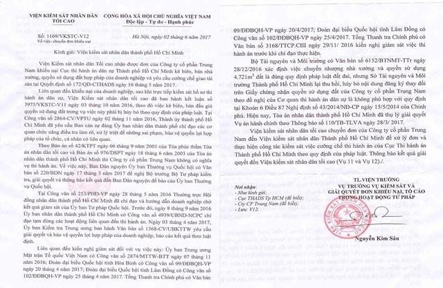 Văn bản của Viện KSND Tối cao gửi Viện KSND TPHCM yêu cầu thực hiện công tác kiểm sát việc cưỡng chế thi hành án của Cục THADS TPHCM.