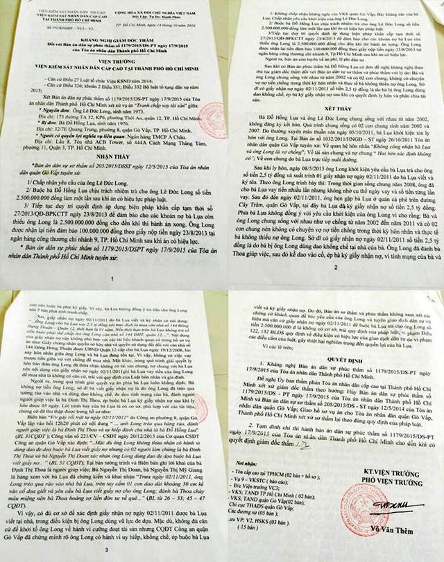 Kháng nghị giám đốc thẩm đề nghị hủy 2 bản án trong vụ mảnh giấy nhận nợ 2,5 tỷ đồng của VKSND Cấp cao tại TP.HCM đã kịp thời bảo vệ quyền lợi hợp pháp của người dân.