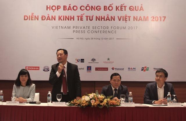 Buổi Công bố kết quả Diễn đàn Kinh tế tư nhân Việt Nam (VPSF) lần 2 và ra mắt Sách Trắng được tổ chức vào chiều qua (28/12). (Ảnh: Hồng Vân)