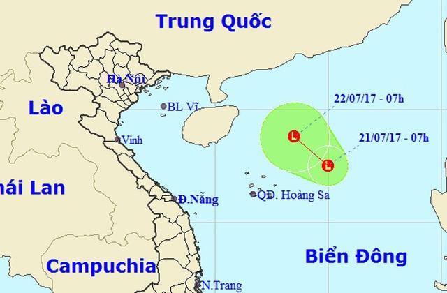 Vị trí và hướng di chuyển của vùng áp thấp nhiệt đới. (Ảnh: NCHMF).